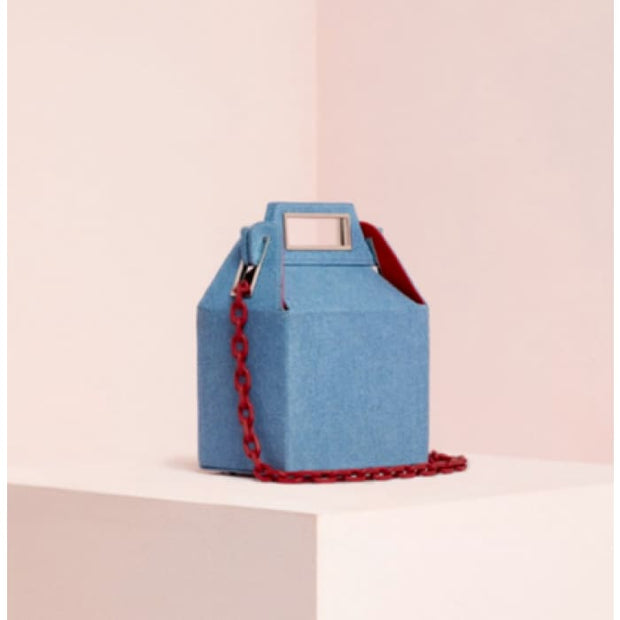 Cube Box Handbag - Blue - Handbag Footsylicious