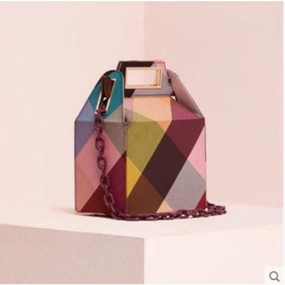 Cube Box Handbag - Multicolour - Handbag Footsylicious