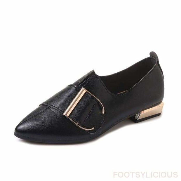 Diva Buckle Flat Shoes - Black / UK3.5 - Flat Shoes Footsylicious