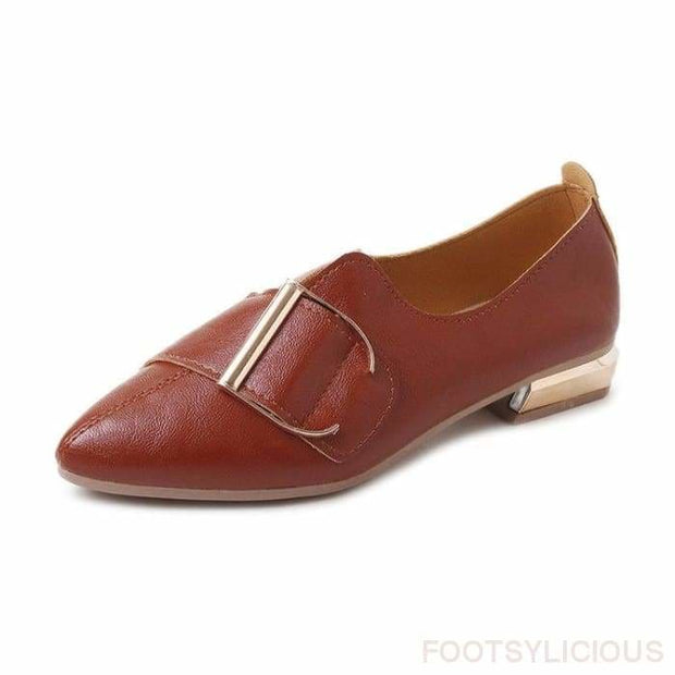 Diva Buckle Flat Shoes - Brown / UK3.5 - Flat Shoes Footsylicious