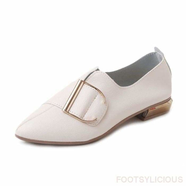 Diva Buckle Flat Shoes - White / UK3.5 - Flat Shoes Footsylicious