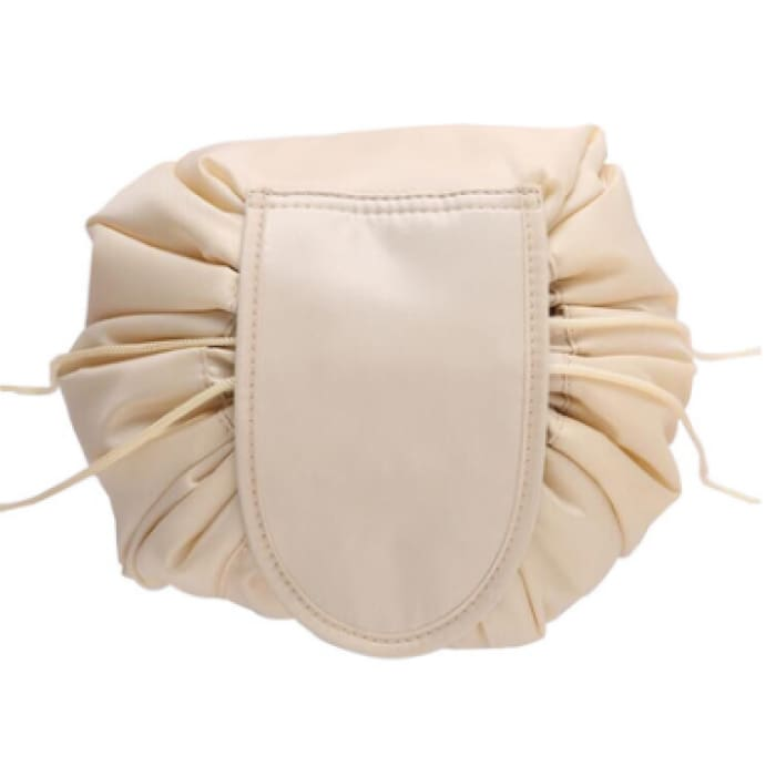 Drawstring Lazy Cosmetic Storage Bag - Beige - Health & Beauty Hair / Makeup / Makeup Brushes Footsylicious