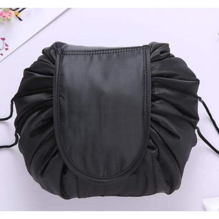 Drawstring Lazy Cosmetic Storage Bag - Black - Health & Beauty Hair / Makeup / Makeup Brushes Footsylicious