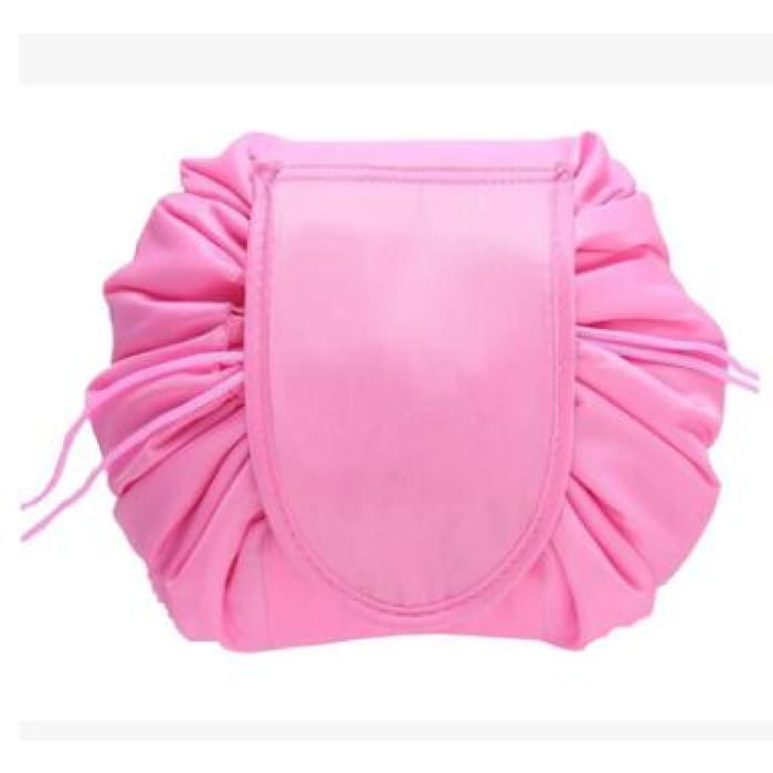 Drawstring Lazy Cosmetic Storage Bag - Deep pink - Health & Beauty Hair / Makeup / Makeup Brushes Footsylicious