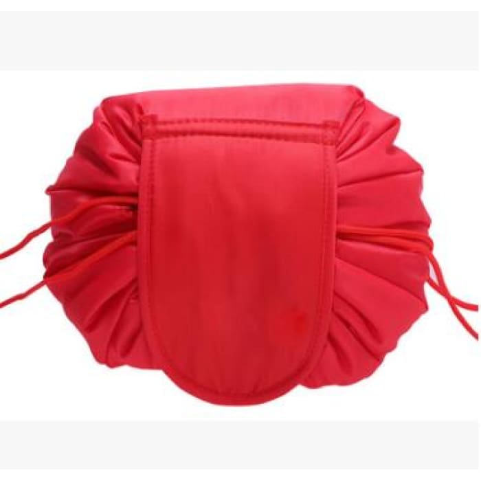 Drawstring Lazy Cosmetic Storage Bag - Red - Health & Beauty Hair / Makeup / Makeup Brushes Footsylicious