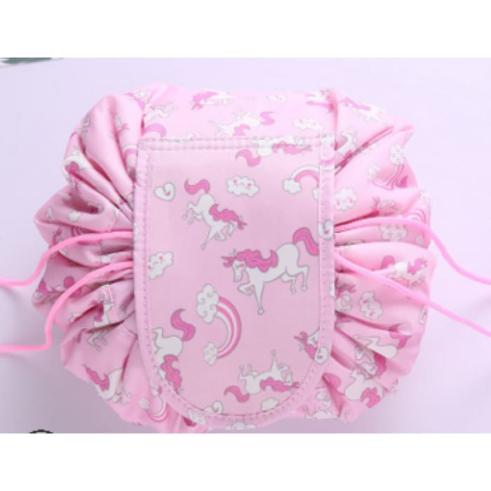 Drawstring Lazy Cosmetic Storage Bag - Rosy Pink - Health & Beauty Hair / Makeup / Makeup Brushes Footsylicious