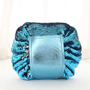 Drawstring Lazy Cosmetic Storage Bag - Sequins blue - Health & Beauty Hair / Makeup / Makeup Brushes Footsylicious