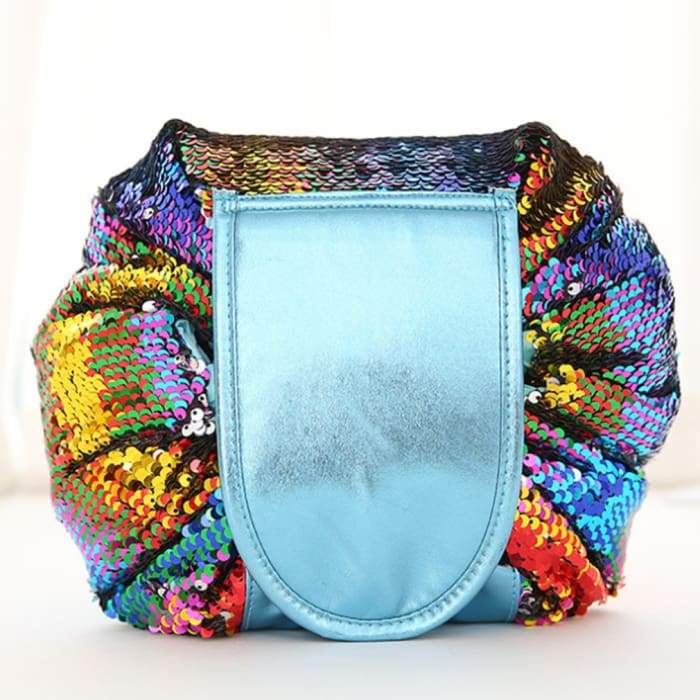 Drawstring Lazy Cosmetic Storage Bag - Sequins colorful - Health & Beauty Hair / Makeup / Makeup Brushes Footsylicious