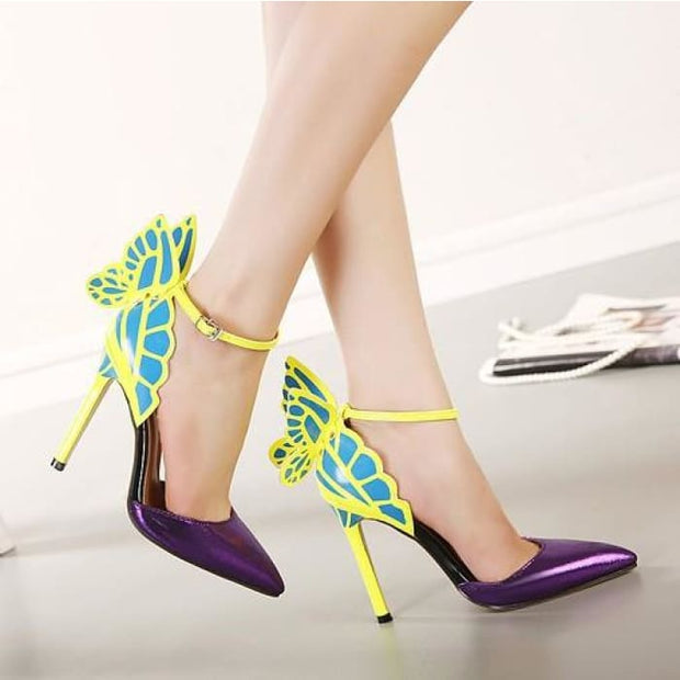 Dreamy Butterfly Ankle Strap High Heels - Purple / UK3.5 - Shoes Footsylicious
