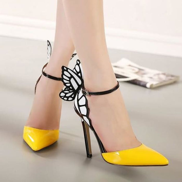 Dreamy Butterfly Ankle Strap High Heels - Yellow / UK3.5 - Shoes Footsylicious