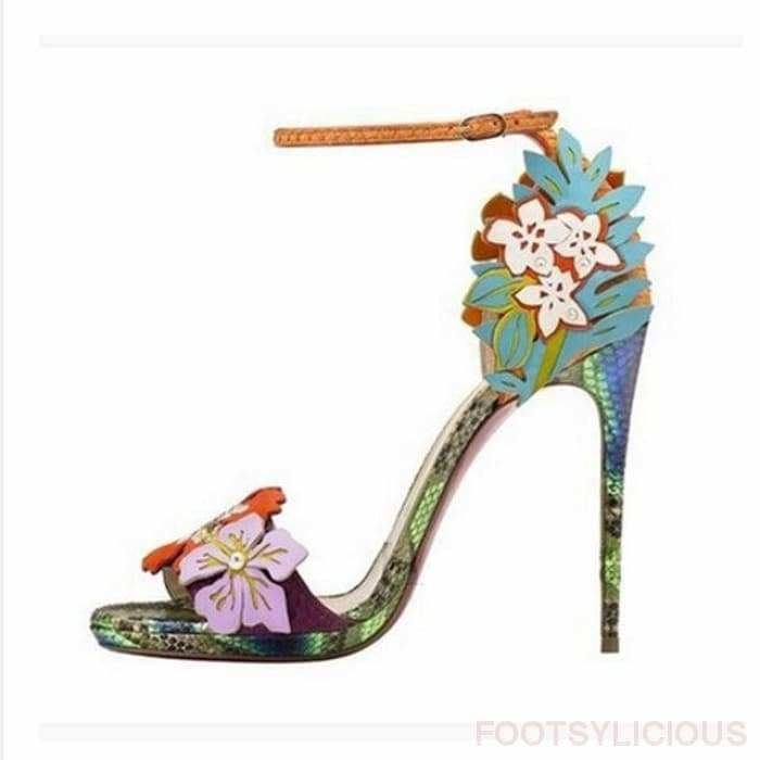 Eden Flower High Heel Sandals - Blue/Green/Red / UK3.5 - Footsylicious
