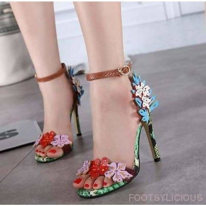 Eden Flower High Heel Sandals - Footsylicious
