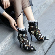 Embroidery Mesh Pointed Toe Ankle Boots - Footsylicious