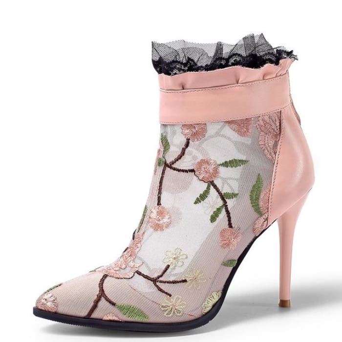 Embroidery Mesh Pointed Toe Ankle Boots - Pink / UK3 - Footsylicious