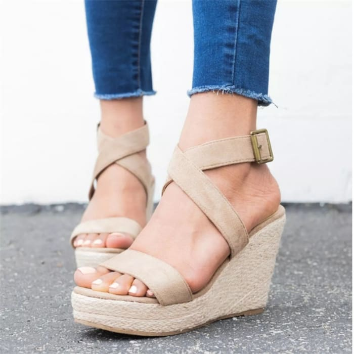 Espadrille Platform Wedge Sandals - UK3.5 / Apricot - Wedges Footsylicious