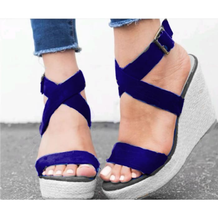 Espadrille Platform Wedge Sandals - UK4.5 / Blue - Wedges Footsylicious