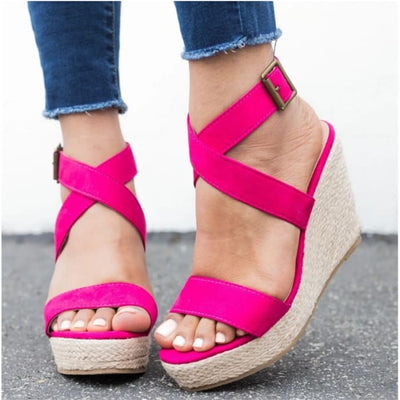 Espadrille Platform Wedge Sandals - UK6 / Rosy Pink - Wedges Footsylicious