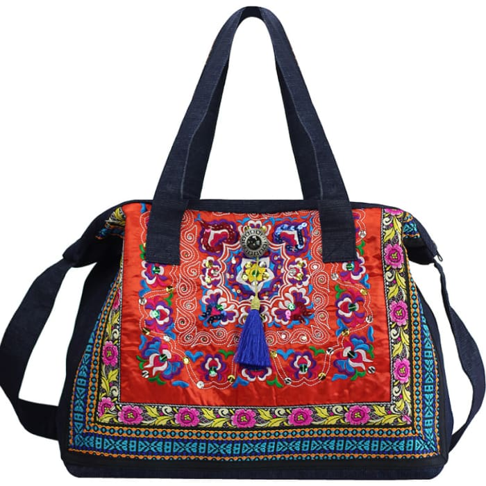 Ethnic Embroidery Shoulder Bag - Red - Handbag Footsylicious