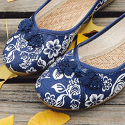 Ethnic Round Toe Flat Shoes - Blue / UK5.5 - Footsylicious