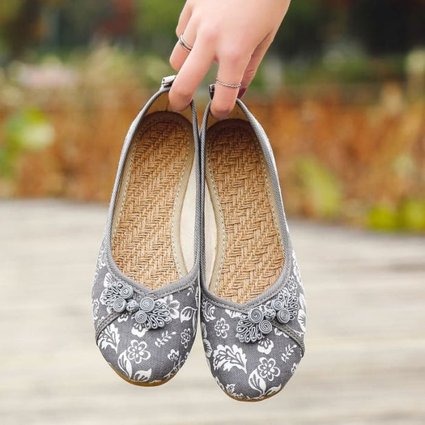 Ethnic Round Toe Flat Shoes - Gray / UK4 - Footsylicious