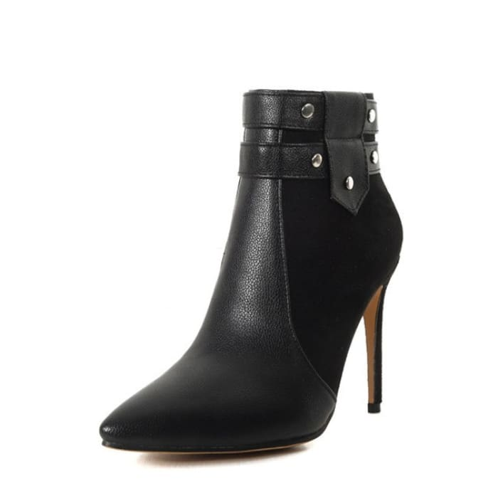 Fashion Retro Buckle Strap Ankle Boots - Black / UK6 - Shoes Footsylicious