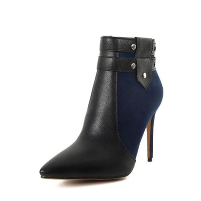Fashion Retro Buckle Strap Ankle Boots - Blue / UK3 - Shoes Footsylicious