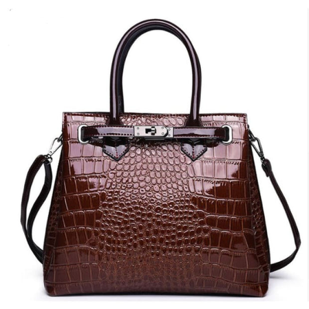Faux Croc Handbag - Brown - Handbag Footsylicious