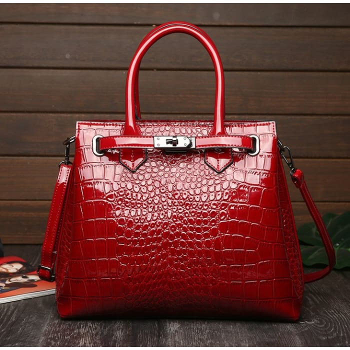 Faux Croc Handbag - Red - Handbag Footsylicious