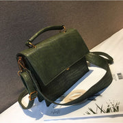 Faux Croc Leather Handbag - Green - Handbag Footsylicious