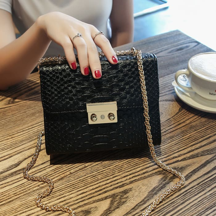 Faux Croc Mini Lock Handbag - Black - Handbag Footsylicious
