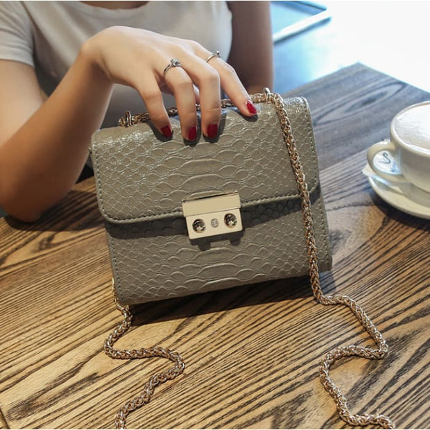 Faux Croc Mini Lock Handbag - Gray - Handbag Footsylicious