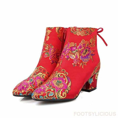 Felicity Embroidery Ankle Boots - Red / UK3 - Delivered within 2 - 3 weeks / 5.7cm - Ankle Boots Footsylicious