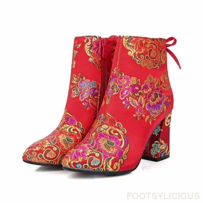 Felicity Embroidery Ankle Boots - Red / UK3 - Delivered within 2 - 3 weeks / 7.5cm - Ankle Boots Footsylicious