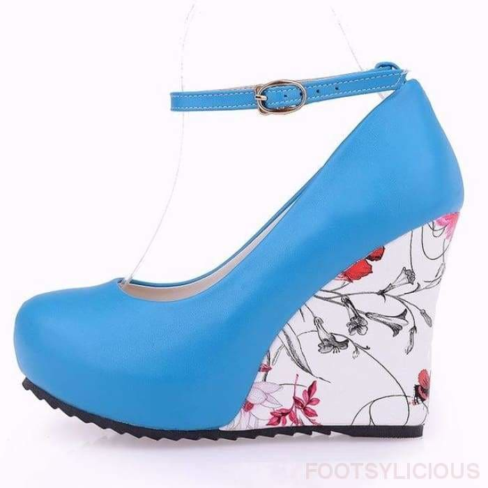 Flora Pattern Wedges - Blue / UK3.5 - Wedges Footsylicious