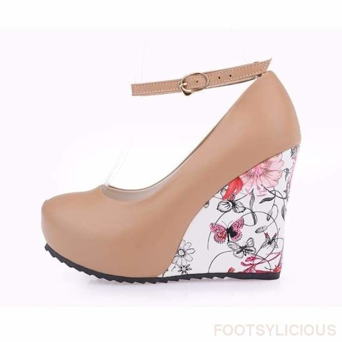 Flora Pattern Wedges - Brown / UK3.5 - Wedges Footsylicious