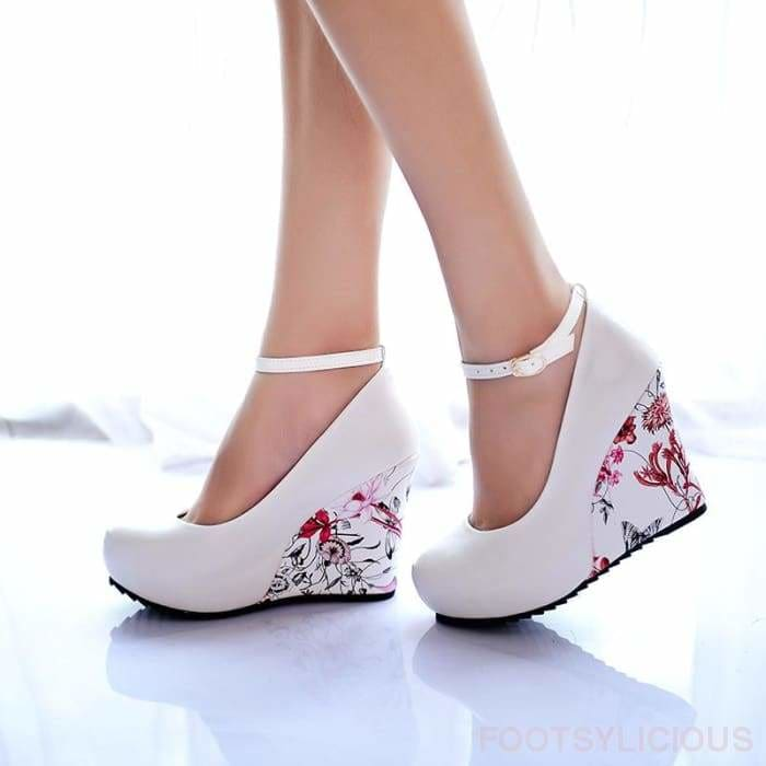 Flora Pattern Wedges - Wedges Footsylicious