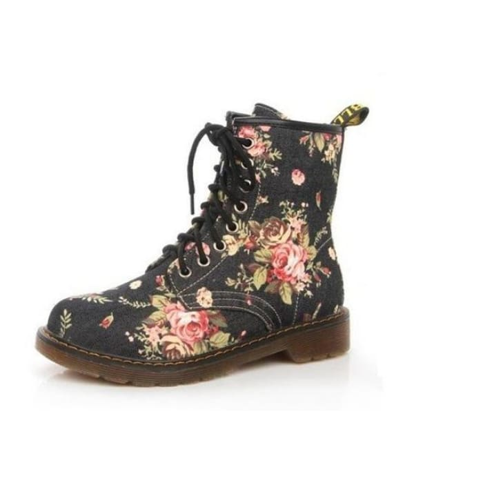 Floral Print Lace up Ankle Boots - Black / UK3.5 - Footsylicious