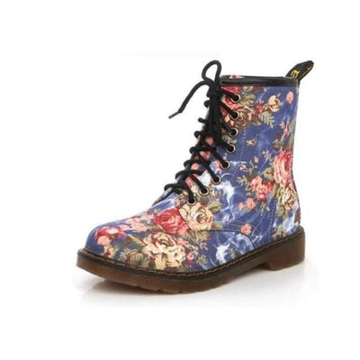 Floral Print Lace up Ankle Boots - Blue / UK3.5 - Footsylicious
