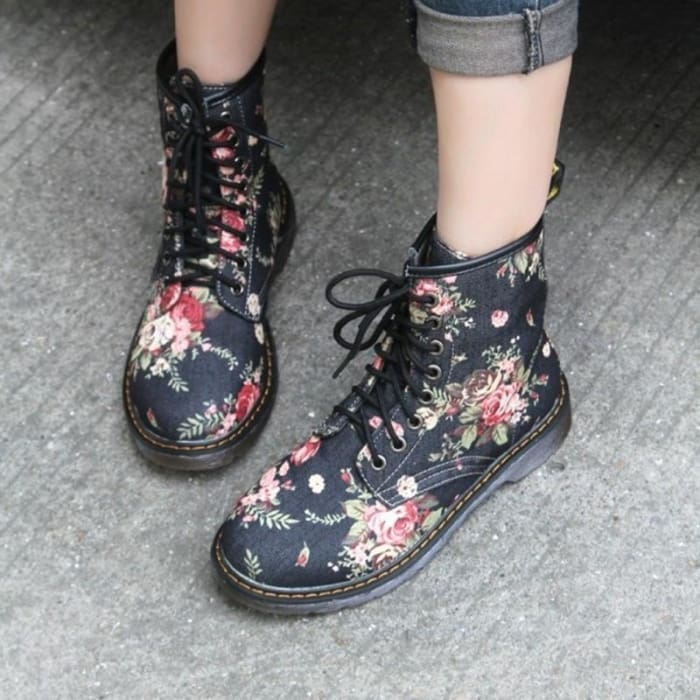 Floral Print Lace up Ankle Boots - Footsylicious