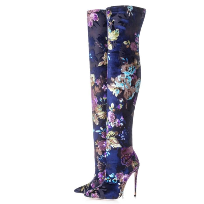 Floral Vixen High Heeled Boot - Long boots / UK4.5 - Shoes Footsylicious