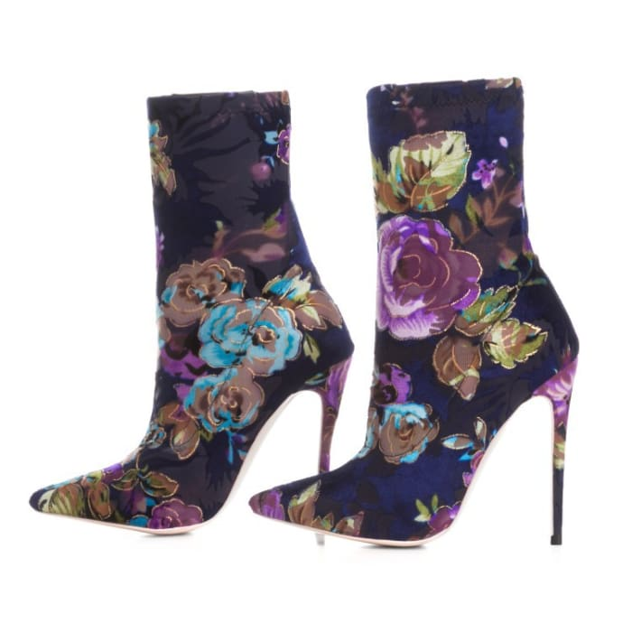 Floral Vixen High Heeled Boot - Shoes Footsylicious