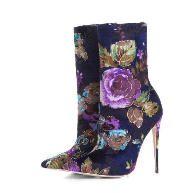 Floral Vixen High Heeled Boot - Short boots / UK3.5 - Shoes Footsylicious