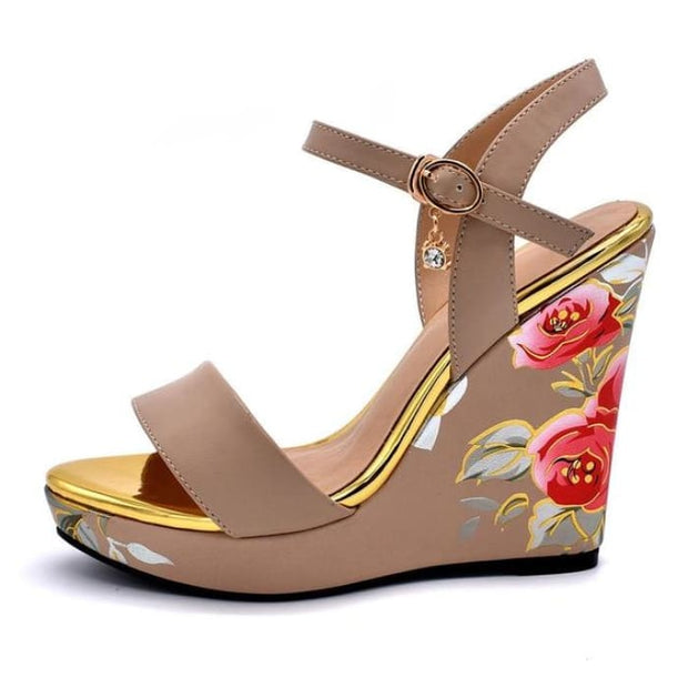 Flower Print Wedge Heels - Beige / UK3.5 - Wedges Footsylicious