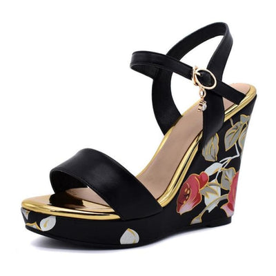 Flower Print Wedge Heels - Black / UK3.5 - Wedges Footsylicious