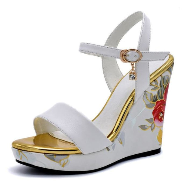 Flower Print Wedge Heels - White / UK3.5 - Wedges Footsylicious