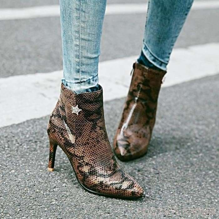 Funke Snakeskin Pointy Boots - Brown / UK3 - Ankle Boots Footsylicious