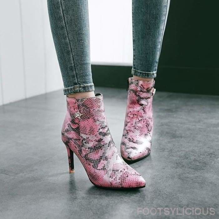Funke Snakeskin Pointy Boots - Pink / UK3 - Ankle Boots Footsylicious