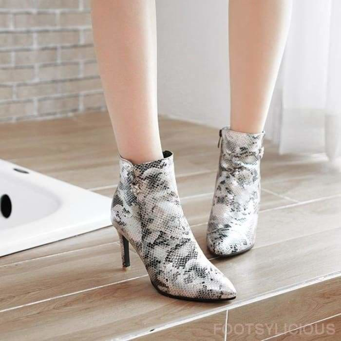 Funke Snakeskin Pointy Boots - Silver / UK3 - Ankle Boots Footsylicious