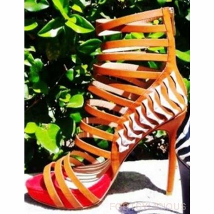 Julie Platform Gladiator Sandals - Orange / UK7 - Footsylicious