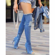 Kain Denim Stretch Boots - Blue / UK6.5 - Knee High Boots Footsylicious
